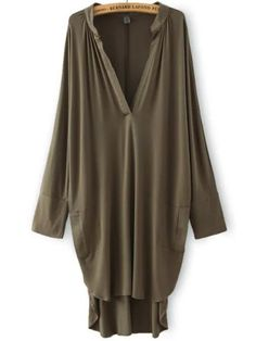 Army Green Deep V Neck Asymmetrical Loose Dress ,35% Off for New Sign Up