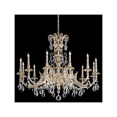 Schonbek Genzano 12 Light Crystal Chandelier Crystal Type: Heritage Clear, Finish: Parchment Gold