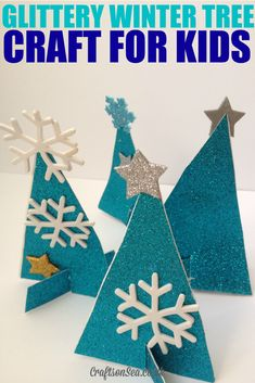 Glittery Winter Tree Crafts for Kids - Crafts on Sea