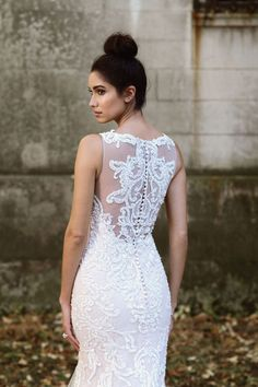 Justin Alexander Signature - Style 9874: Hand-Placed Lace Gown with Illusion Back
