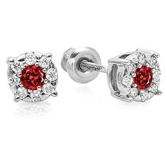 10K White Gold Round Cut Ruby  White Diamond Round Shape Cluster Earrings >>> Details can be found by clicking on the image.