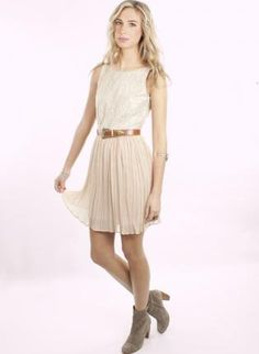 Light Pink Lace Chiffon Dress with Pleat Skirt & V-Back,  Dress, pleated dress  v-back, Chic