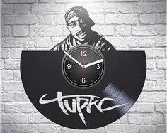 Tupac Vinyl Record Wall Clock, Gift For Rap Lover, 2Pac, Wall Art, Handmade Home Decor, Birthday New Year Xmas Gift, Vintage Vinyl Record