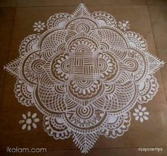 A freehand kolam, for Tamil new year. By Sowmyavijay - ikolam.com