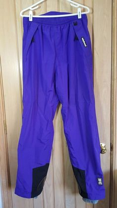 "HELLY HANSEN TECH VTG Purple Side Zip Mesh Lined Ski Snow Pants Size 34"" / 31"" #HellyHansen"