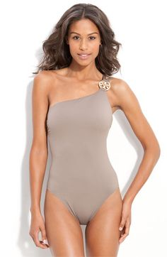 Inspiration to stay on my diet and exercise program..love this dark sandstone with gold accent medallion-Tory Burch Swimwear 2012