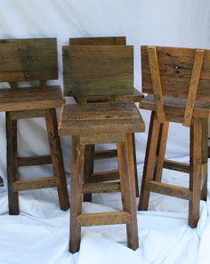 "Handmade Bar Stools with Backs with 24"" Seats."