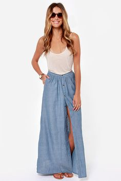 Do this skirt with sandals or antique western boots.  RVCA Lush Deserts Chambray Maxi Skirt at Lulus.com! $54