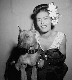 "Billie Holiday & Her Dog ""Mister""  www.pitbullcrew.com"