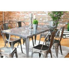 Industrial Style Zinc Top Dining Table Large Rustic Metal