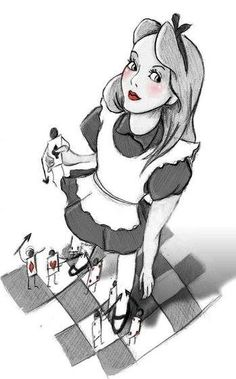 Alice in Wonderland character illustration via www.Facebook.com/DisneylandForMisfits