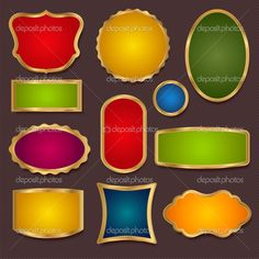 Borders, frame -Vector set. Colorful Sale banners, gold labels ...