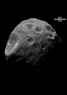 The Martian moon Phobos has a lumpy, nonspherical shape that suggests it may be a captured asteroid.