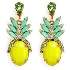 Elizabeth Cole 'Ananas' pineapple drop earrings found on Polyvore featuring jewelry, earrings, glass bead earrings, pineapple jewelry, elizabeth cole, 24k jewelry and 24-karat gold jewelry