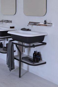 Agape Ottocento basin for the bathroom in two-tone All White Bathroom, White Bathroom Accessories, Small Bathroom, Master Bathroom, Bathroom Faucets, Bathroom Lighting, Sinks, Boffi, Beautiful Space