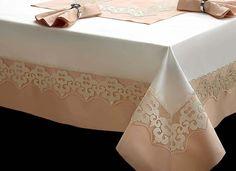 Gülnebile İpek Şanturk Yemek Takımı 26 Parça - Pembe - Yatak Örtüleri - Nevresim Takımları - Masa Örtüleri | Wedding Masa Örtüsü | EVLEN Modelleri
