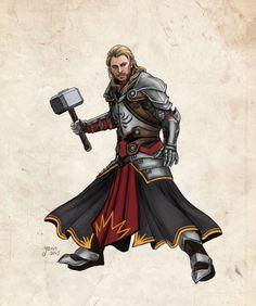 Thor as a templar. Oohh this is so much fun. I didn't make too much changes to the templar uniform here. Thor in Dragon Age AU Superhero Characters, Dnd Characters, Fantasy Characters, Superhero Suits, Fantasy Character Design, Character Art, Thor, Loki, Asgard