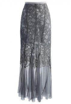 Mermaid Crochet Mesh Maxi Skirt in Grey