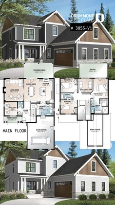 Country cottage house plan with 4 bedrooms, master suite, home office, open concept, fireplace and built-ins interior bedroom master suite Sims 4 House Plans, New House Plans, Modern House Plans, Dream House Plans, House Floor Plans, Family Home Plans, House Plans 2 Story, Two Storey House Plans, Modern Garage