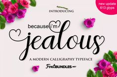 Jealous Script is a wonderful font inspired by love, lust and desire.Jealous includes over 600 glyphs all accessible via character map or font book. Handwritten Fonts, Calligraphy Fonts, Script Fonts, Typography Fonts, New Fonts, Hand Lettering, Calligraphy Alphabet, Islamic Calligraphy, Creative Fonts