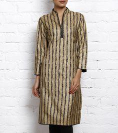 Beige Tussar Silk Cotton Kurta