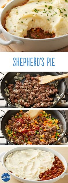 Wondering how to make a traditional shepherd's pie? Our version of this classic comfort food is made with garlic mashed potatoes and flavorful ground beef. It's so easy, it practically makes itself. Ground Beef With Potatoes, Meals With Mashed Potatoes, Ground Beef Recipes Potatoes, Recepies With Ground Beef, Meals To Make With Ground Beef, Casseroles With Ground Beef, Recipes With Ground Turkey, Healthy Ground Beef, Soup With Ground Beef