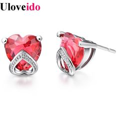 Find More Stud Earrings Information about Orecchini Donna Crystal Stud Earrings for Women The Wedding Bijoux Women Heart  Earings with Red/Purple Zirconium Brincos R204,High Quality earring pin,China earrings hawaii Suppliers, Cheap earrings hair from Uloveido Official Store on Aliexpress.com