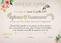 certificat engagement union cérémonie laïque mariage rustique bohème chic tampon sur-mesure fleurs