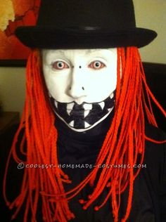 Creepy DIY Costume with orange Hair and Wicked Face