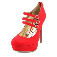 Red platform pumps Super cute red pumps with strappy buckles around ankle. 5.5' inch heel, size 7 1/2. I normally wear a size 7 but these ran a little tighter on me. Worn only three times Material Girl Shoes Heels