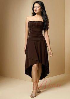 Cheap Cocktail Dress A-line Strapless Tea Length Irregular Hemline Chiffon & Satin C255