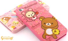 cute kawaii bear iphone cases in pink and hot pink
