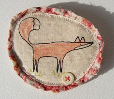 textile screen printed Fowler the Fox brooch