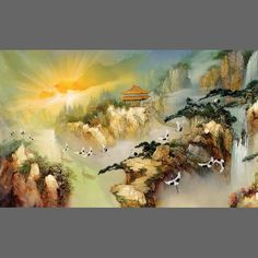 Chinoiserie scenery mural wallpaper, 3 part: 1397 | Animal wall murals