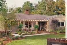I love ranch style homes. This looks like the back of yours with some help:)