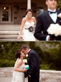 I love how the bride is sneaking up behind her groom. Great first look! #wedding