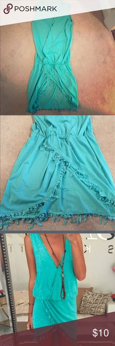 Teal dress with lace fringe Small Teal v-neck dress! Super cute embellishments, a little too long for me, never been worn! Dresses Midi