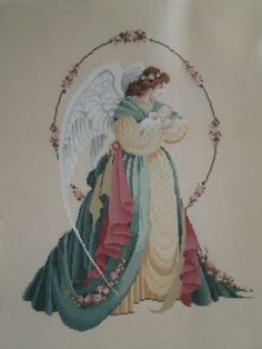 Completed Cross Stitch  Guardian Angel by mysandbox on Etsy, $69.99