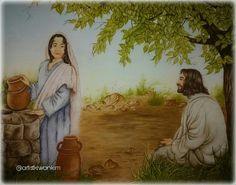 사마리아 여자 하나가 물을 길러 왔으매 예수께서 물을 좀 달라 하시니 예수께서 대답하여 가라사대 네가 만일 하나님의 선물과 또 네게 물좀 달라 하는 이가 누구인줄 알았더면 네가 그에게 구하였을 것이요 그가 생수를 네게 주었으리라 요한복음 4:7, 10   There cometh a woman of Samaria to draw water: Jesus saith unto her, Give me to drink.  Jesus answered and said unto her, If thou knewest the gift of God, and who it is that saith to thee, Give me to drink; thou wouldest have asked of him, and he would have given thee living water. John 4:7, 10