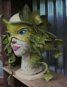 Spring wood nymph Ash and Ivy leaf leather mask by by faerywhere