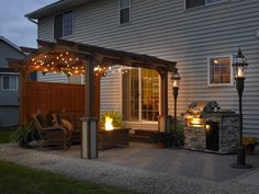 Sonoma 12 Pergola with Custom Wall & Decorative Post Base  Similar Set up to back yard, would work well