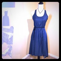 Gap Jean dress Cute & flowy Gap 1969 Hi-Low Jean dress - XS.   Fits more like a small, side of ribs/ breasts runs big. Worn only once. Comes with dark navy velour ribbon belt. NO TRADES. Thanks for looking. GAP Dresses High Low