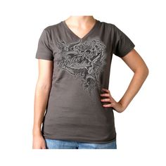 Hot Leathers Ladies Victorian Eagles Charcoal Tee