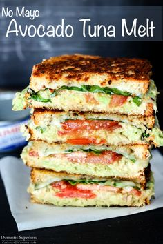 No Mayo Avocado Tuna Melt is the perfect lunch to get out of the midweek slump! No Mayo Avocado Tuna Melt is the perfect lunch to get out of the midweek slump! Filled with solid white albacore tuna and veggies, it's delicious and easy! Seafood Recipes, Vegetarian Recipes, Cooking Recipes, Healthy Recipes, Recipes For Tuna, What's Cooking, Easy Avocado Recipes, Healthy Foods, Healthy Fruits