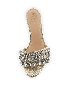 cf307ffceefa4 Tory Burch Beverly Metallic Embellished Slide Sandal