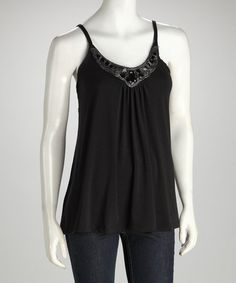 Take a look at this Black Camisole  by Make a Statement: Dresses & Tops on #zulily today!