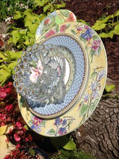 Side view also shows pink ceramic flower in the center. MiMi's Plate Flowers