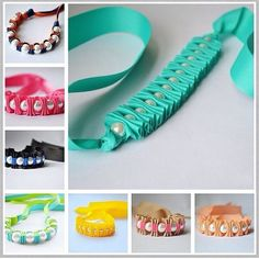 How to Weave Four Strand Braided Ribbon Diy Ribbon, Ribbon Work, Ribbon Crafts, Diy Arts And Crafts, Bead Crafts, Jewelry Crafts, Knit Bracelet, Bead Loom Bracelets, Ribbon Bracelets