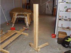 bench frame being assembled