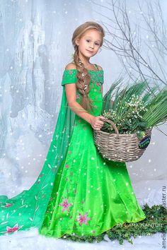 Карнавальный костюм Эльза. - зеленый, цветочный, Эльза, новогодний костюм, сказка, шёлк натуральный